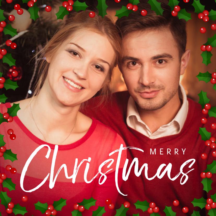 Kerstkaarten - Kerstkaart vierkant grote foto met hulst kader