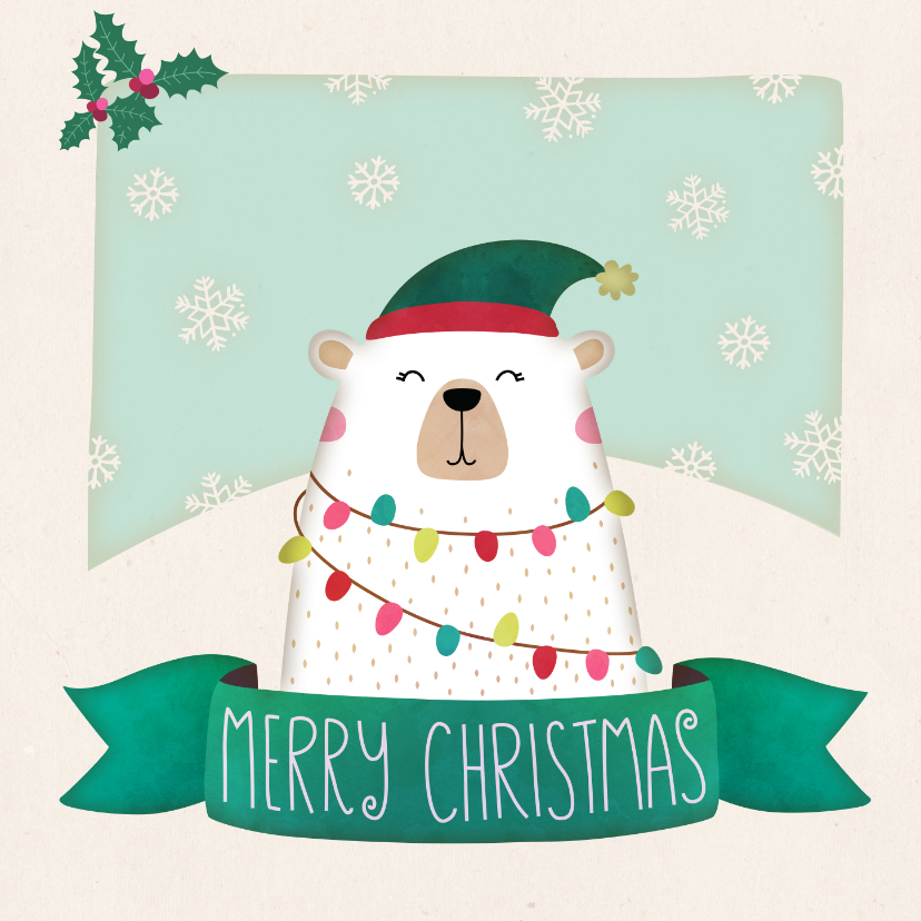 Kerstkaarten - Kerstkaart vierkant ijsbeer