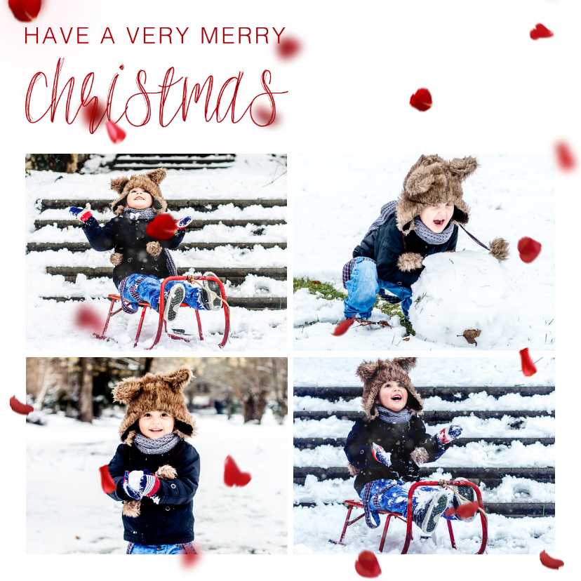 Kerstkaarten - Kerstkaart vierkant met foto's en rode blaadjes