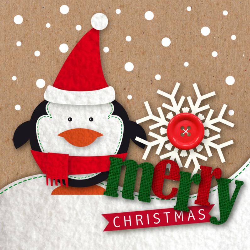 Kerstkaarten - Kerstkaart Vilt Pinguin