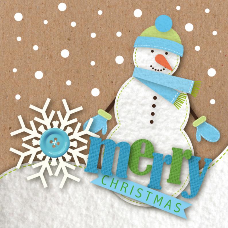 Kerstkaarten - Kerstkaart vilt sneeuwman