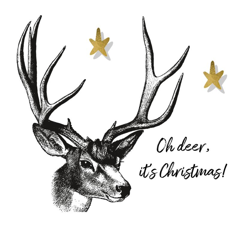 Kerstkaarten - Kerstkaart vintage hert gravure