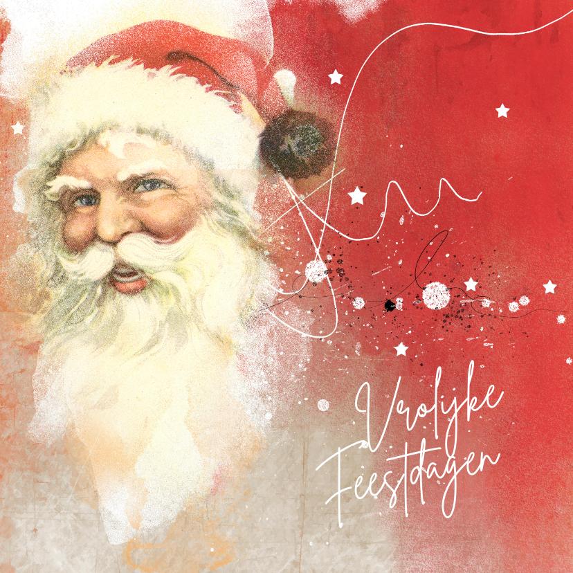 Kerstkaarten - Kerstkaart vintage kerstman