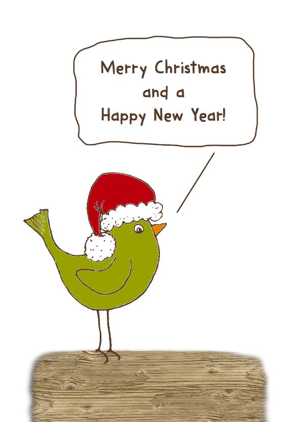 Kerstkaarten - Kerstkaart vogel groen-HR
