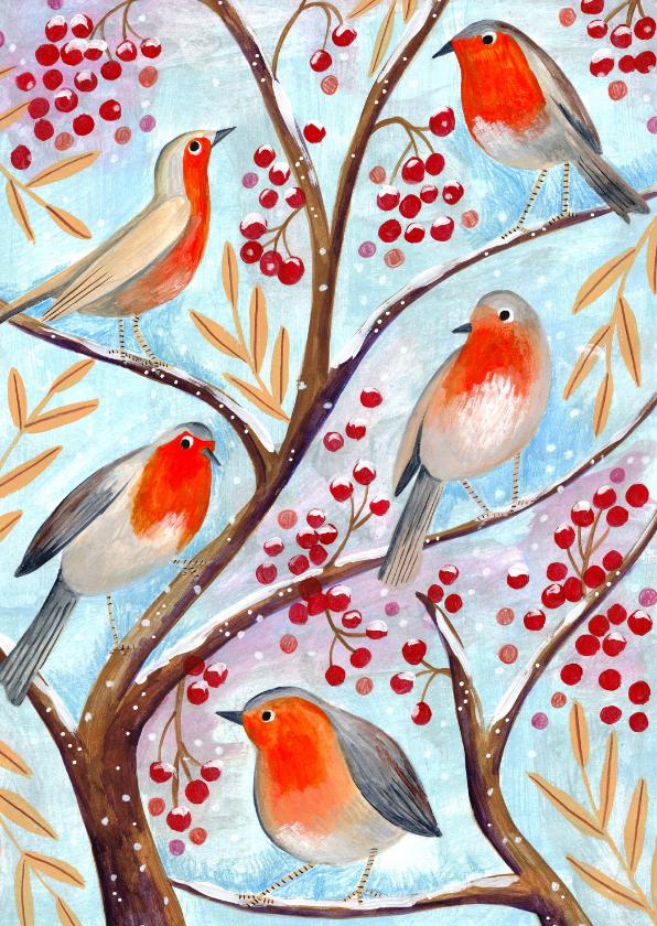 Kerstkaarten - Kerstkaart vogel illustratie in een boom met besjes