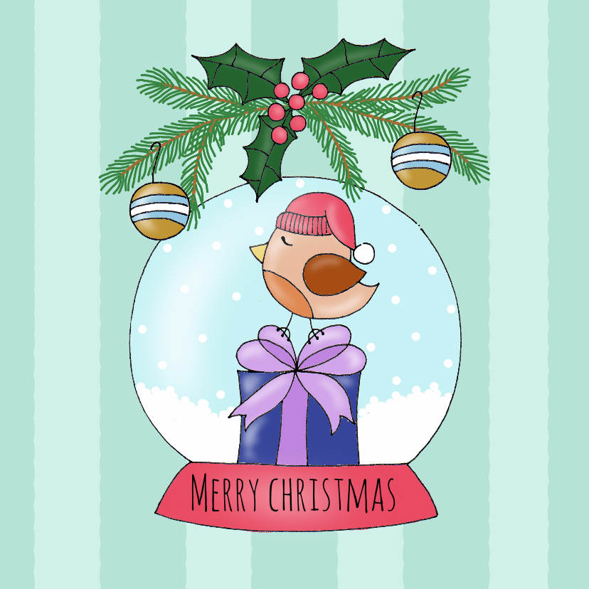 Kerstkaarten - Kerstkaart Vogel in sneeuwbol - SK