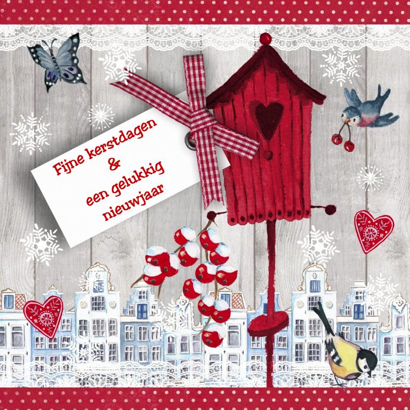 Kerstkaarten - Kerstkaart VOGELHUISJE huisjes Sneeuw