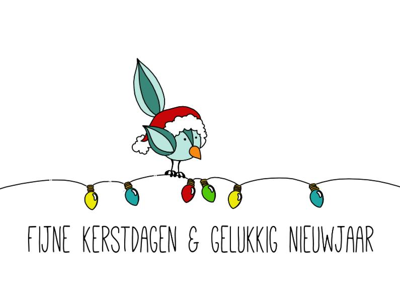 Kerstkaart vogeltje kerstverlichting 2 1