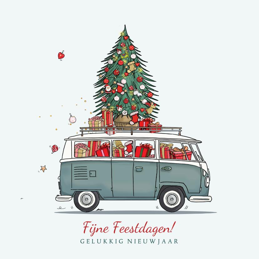 Kerstkaarten - Kerstkaart volkswagenbusje met kerstboom