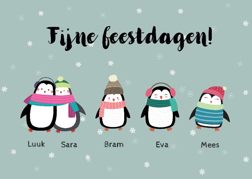 Kerstkaarten - Kerstkaart voor het hele gezin met pinguïns