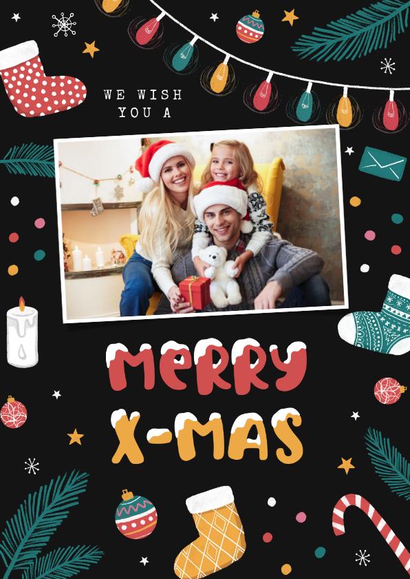 Kerstkaarten - Kerstkaart vrolijk foto kerstballen sokken sterren sneeuw