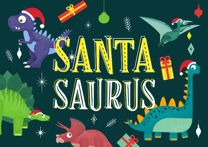 Kerstkaarten - Kerstkaart vrolijk hip dinosaurus feest humor kinderen