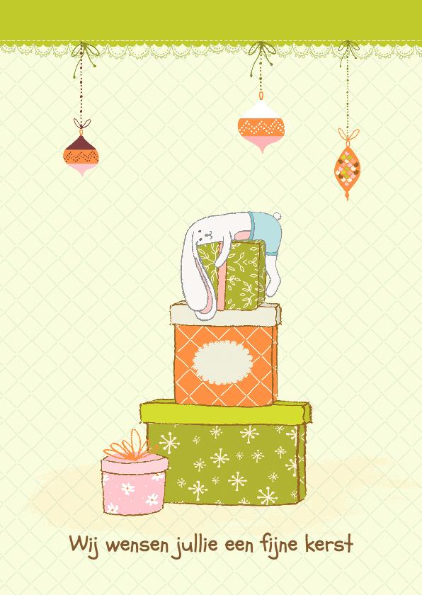 Kerstkaarten - Kerstkaart vrolijk in groen-oranje illustratie