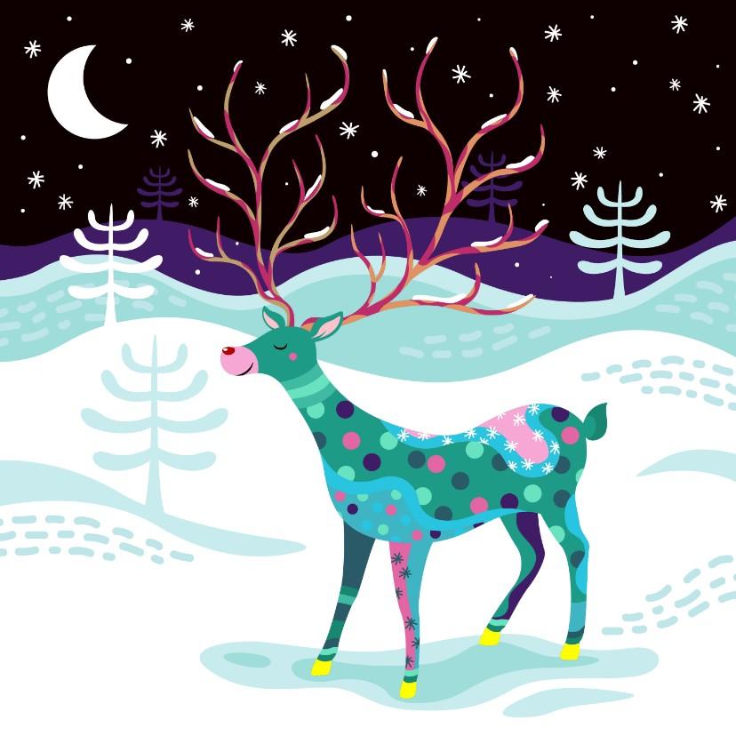 Kerstkaarten - Kerstkaart vrolijk rendier in de sneeuw