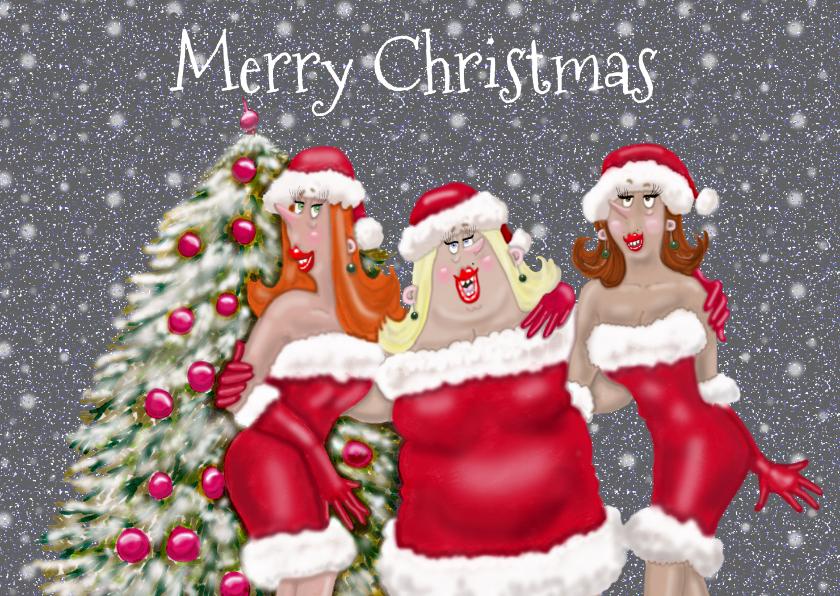 Kerstkaarten - Kerstkaart Vrolijke dames met kerstmuts