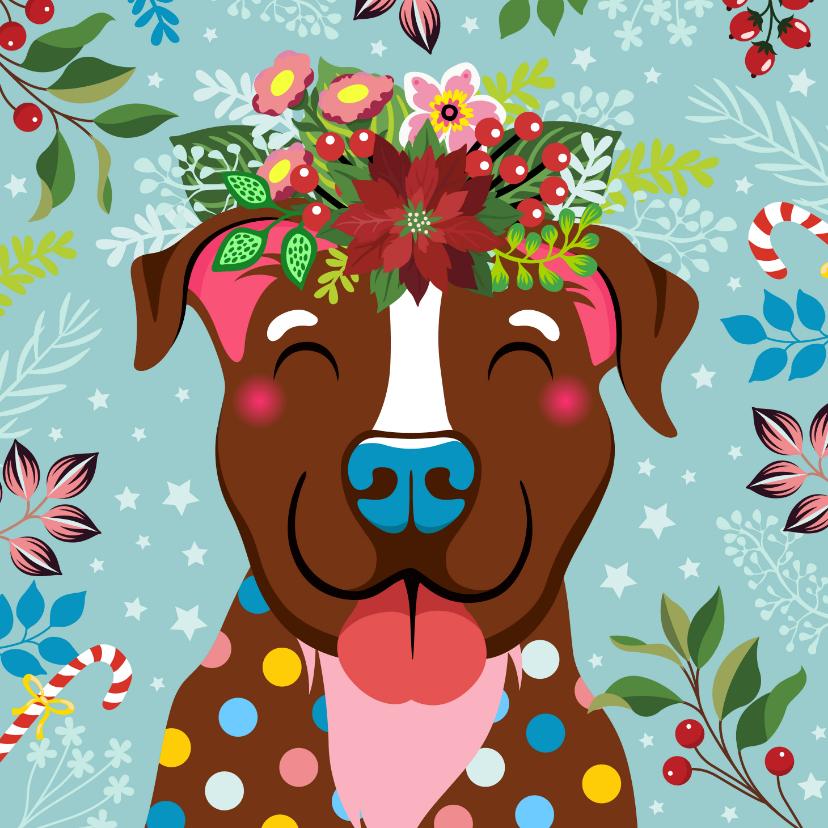 Kerstkaarten - Kerstkaart vrolijke hond, bloemen en planten
