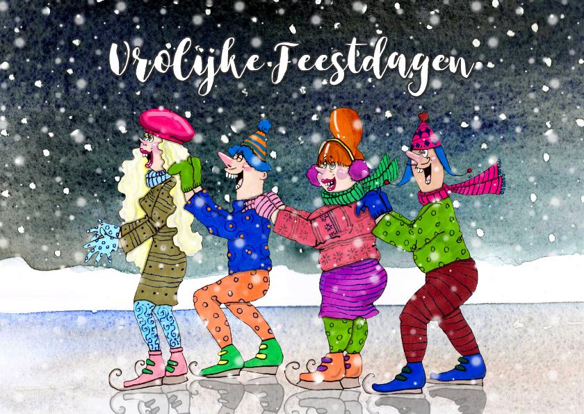 Kerstkaarten - Kerstkaart vrolijke schaatsers