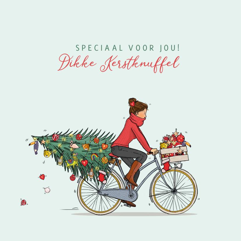 Kerstkaarten - Kerstkaart vrouw met fiets kerstboom