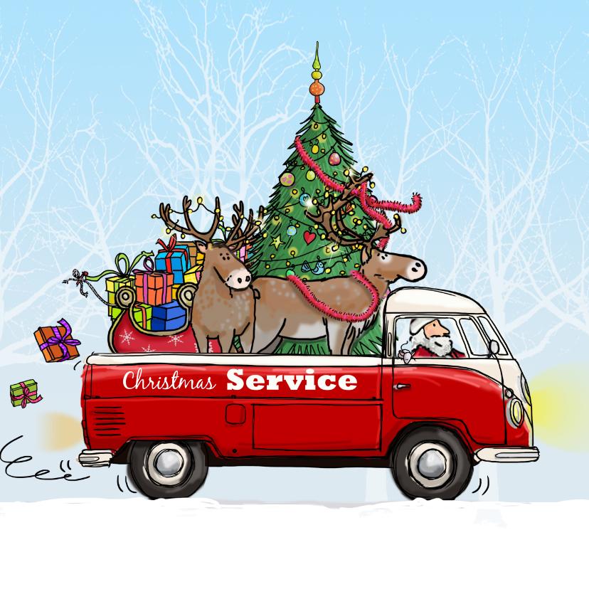 Kerstkaarten - Kerstkaart vw bus pickup av
