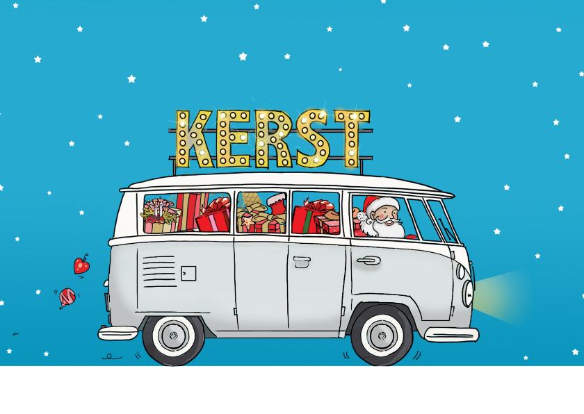 Kerstkaarten - Kerstkaart vw bus wit av