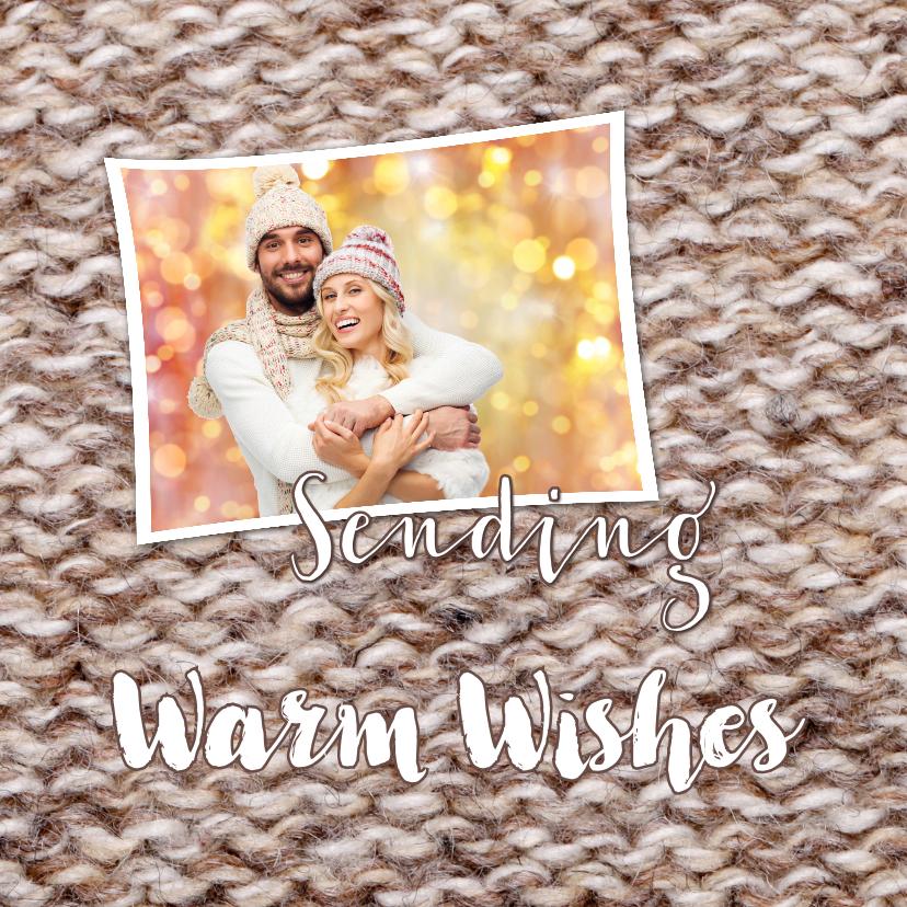 Kerstkaarten - Kerstkaart grappig warm wishes bruin breiwerk