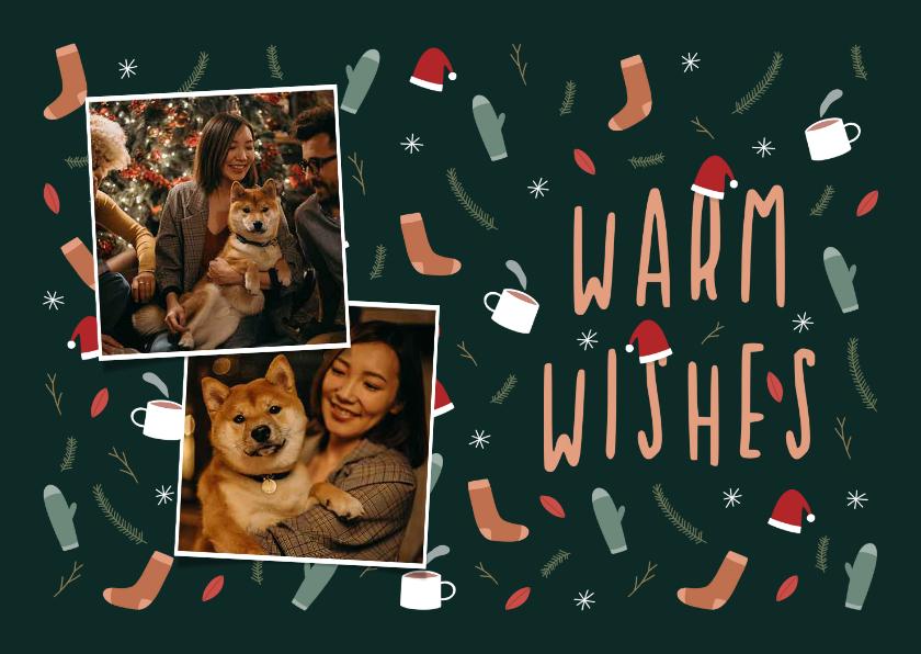 Kerstkaarten - Kerstkaart warm wishes met foto en leuke illustraties