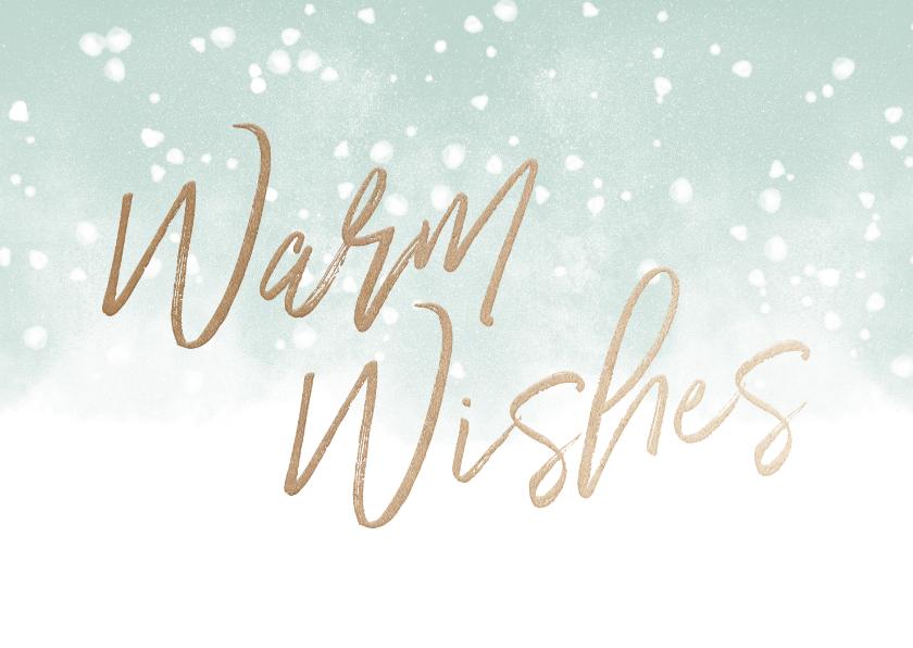 Kerstkaarten - Kerstkaart Warm Wishes met waterverf en sneeuw