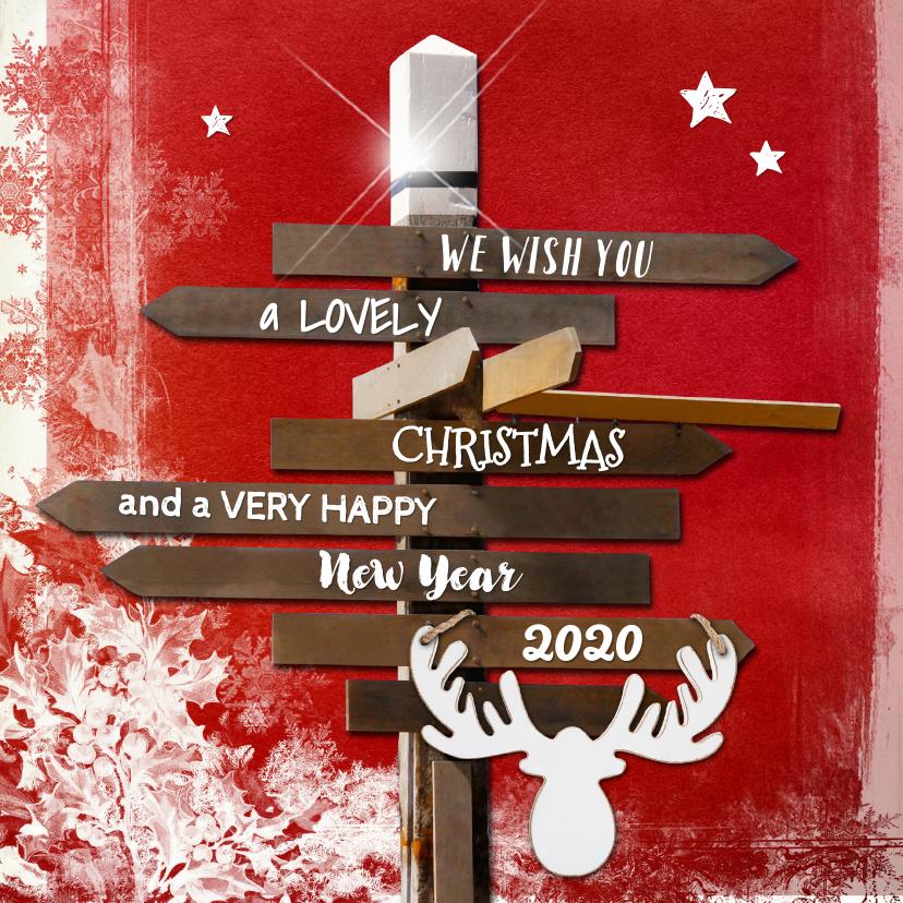 Kerstkaarten - Kerstkaart wegwijzer rood - SG