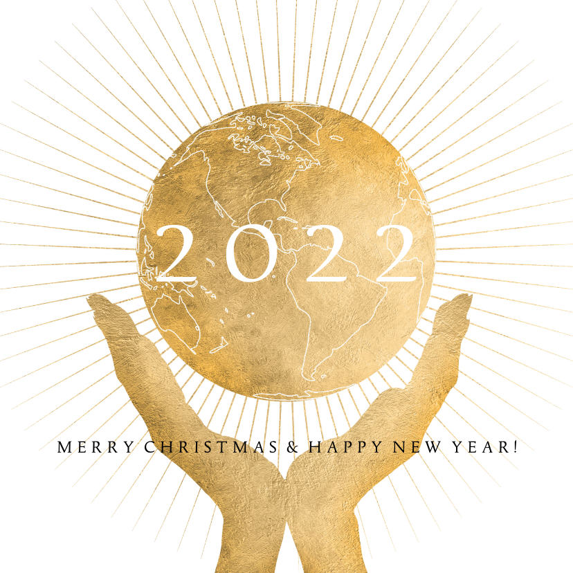 Kerstkaarten - Kerstkaart wereldbol goud