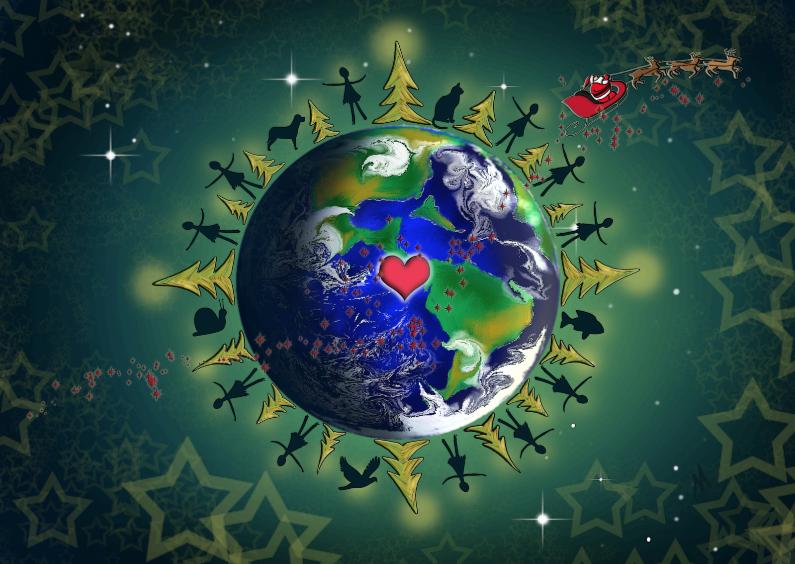 Kerstkaarten - Kerstkaart  wereldbol