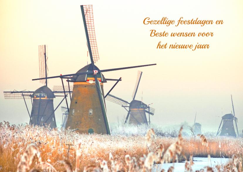 Kerstkaarten - Kerstkaart- Winter Kinderdijk
