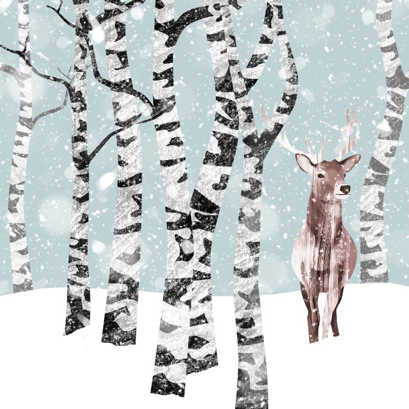 Kerstkaarten - Kerstkaart winter met hert
