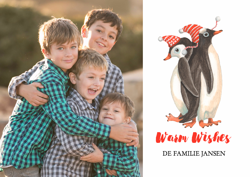 Kerstkaarten - Kerstkaart winter pinguins