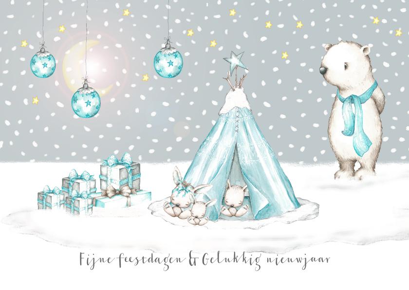 Kerstkaarten - Kerstkaart winter tipi met konijntjes en ijsbeer