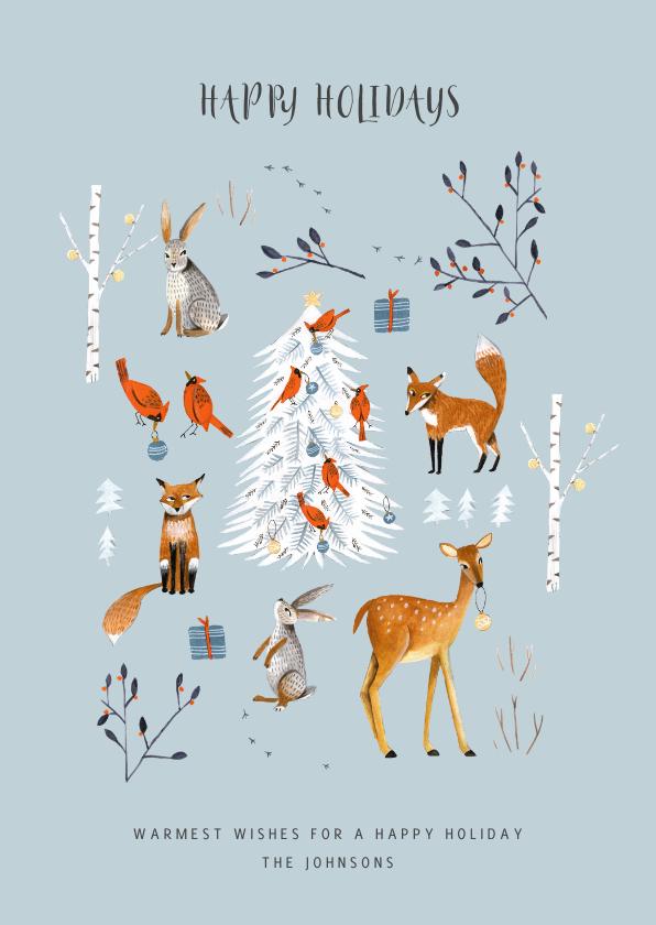 Kerstkaarten - Kerstkaart winter wonderland dieren en kerstboom