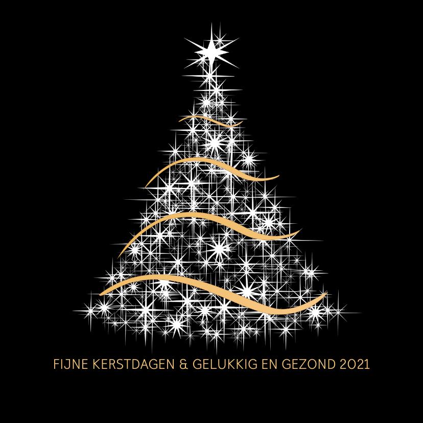 Kerstkaarten - Kerstkaart wit en goud op zwart