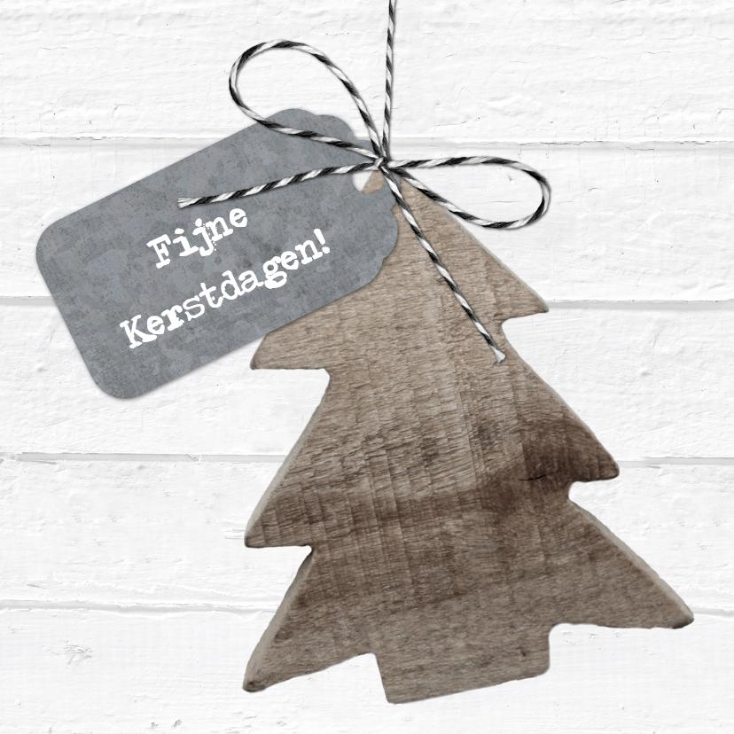 Kerstkaarten - Kerstkaart Wit Hout Kerstboom Label