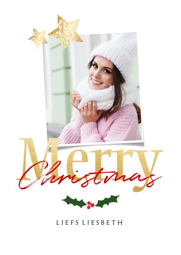Kerstkaarten - Kerstkaart wit staand - een gouden kerst