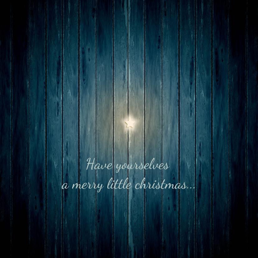 Kerstkaarten - Kerstkaart witte ster op donker blauw hout
