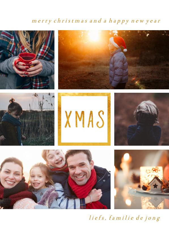 Kerstkaarten - Kerstkaart 'XMAS' met 6 foto's