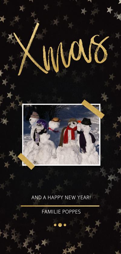 Kerstkaarten - Kerstkaart Xmas zwart met foto en goud - Een gouden kerst
