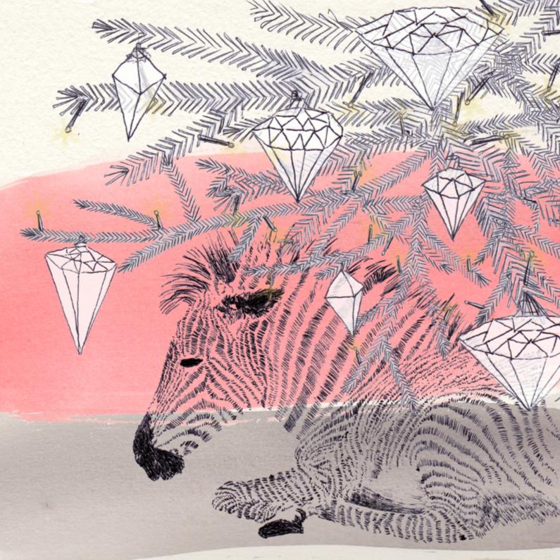 Kerstkaarten - Kerstkaart Zebra Diamant