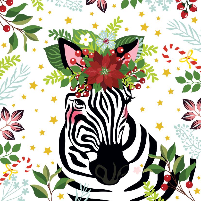 Kerstkaarten - Kerstkaart zebra met kerstster