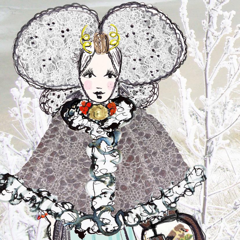 Kerstkaarten - Kerstkaart Zeeuws meisje winter