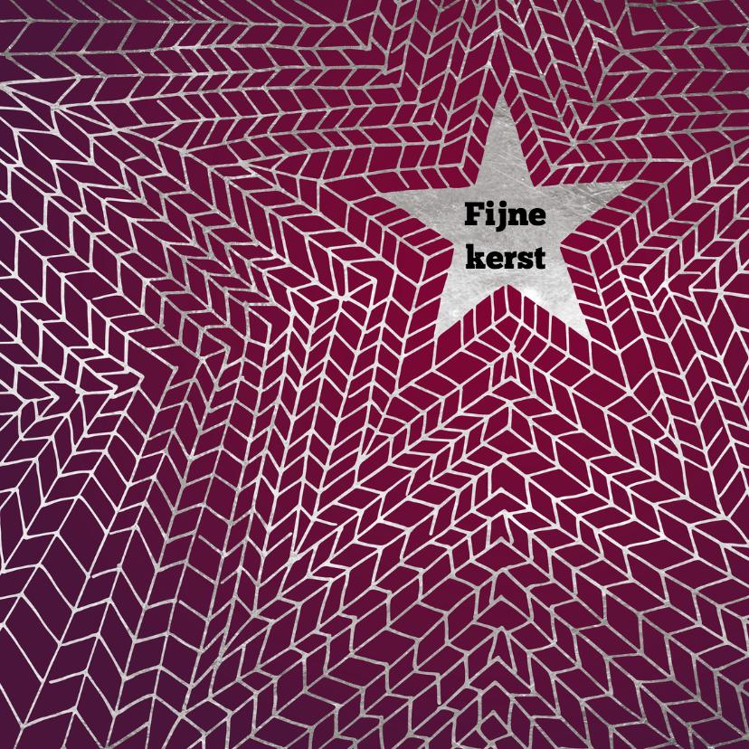 Kerstkaarten - Kerstkaart zilver patroon ster