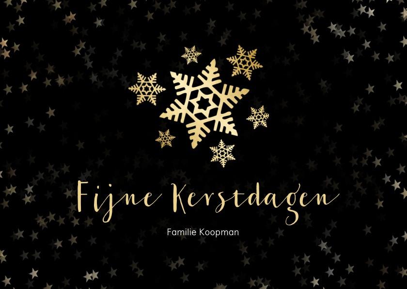 Kerstkaarten - Kerstkaart zwart  en gouden sneeuwvlok - een gouden kerst