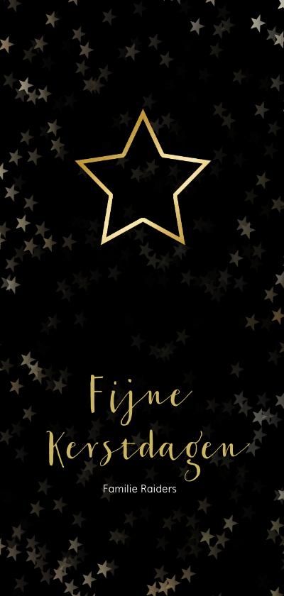 Kerstkaarten - Kerstkaart zwart en kerstster van goud - Een gouden kerst