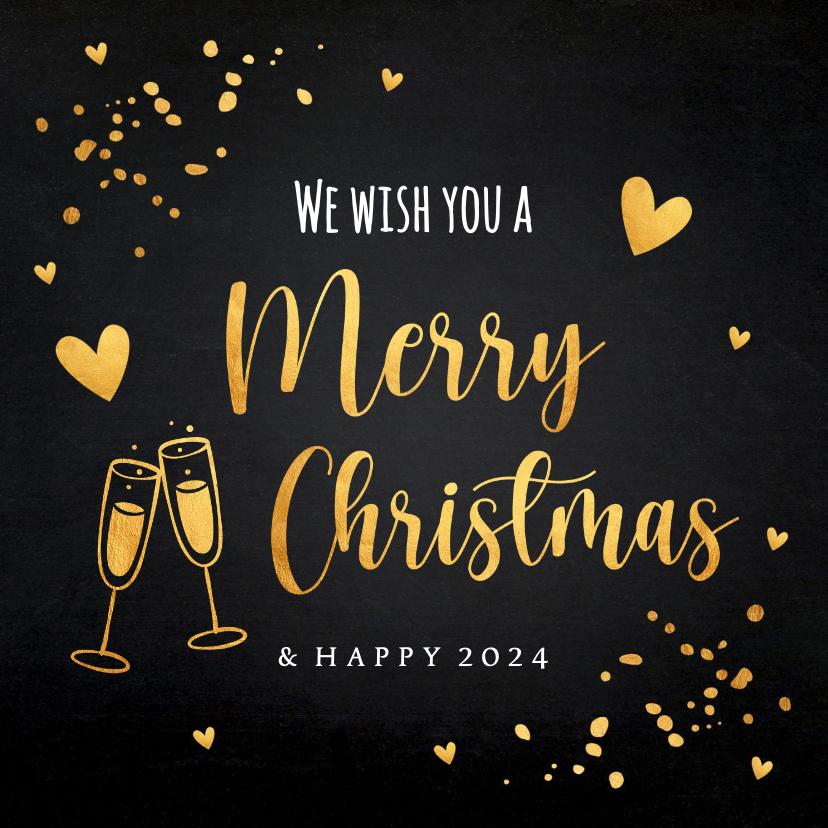 Kerstkaarten - Kerstkaart zwart goudlook typografie champagne hartjes