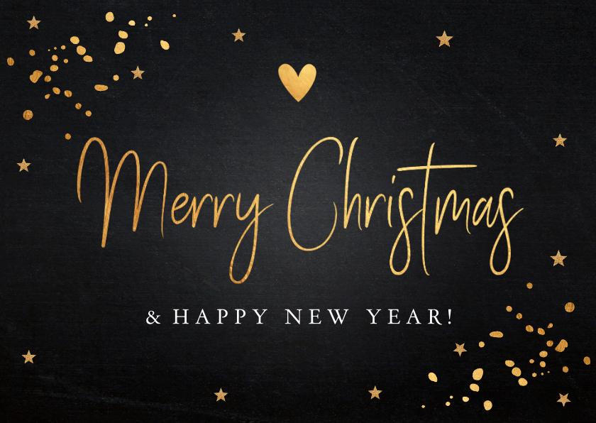 Kerstkaarten - Kerstkaart zwart goudlook typografie rechthoekig