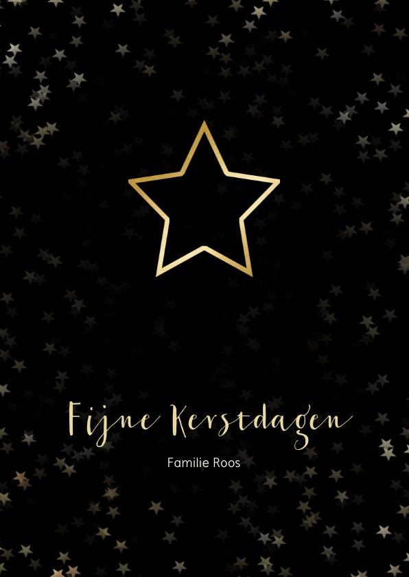 Kerstkaarten - Kerstkaart zwart met kerstster van goud - Een gouden kerst